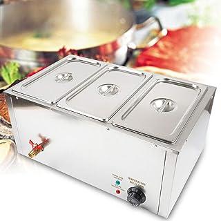 Fetcoi Chauffe-aliments électrique en acier inoxydable - 3 x 7 l - Chauffe-plat électrique bain-marie - 850 W - 30 ° - 85...