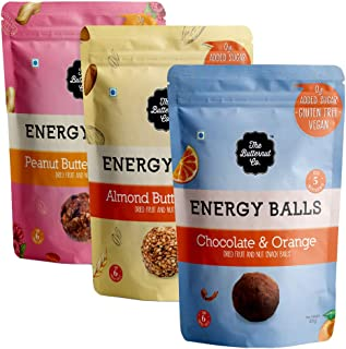The Butternut Co. Energy Balls Variety Pack (Almond Butter & Oats, Peanut Butter & Berries, Chocolate & Orange) Dates, Dried Fruit & Nut Snack Balls 288g (Pack of 6) 100% Natural, No Sugar, Vegan, No Preservatives, Clean Label