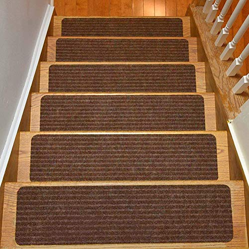 Stair Treads Collection Set of 13 Indoor Skid Slip Resistant Carpet Stair Tread Treads (8 inch x 30 inch) (Brown, Set of 13)