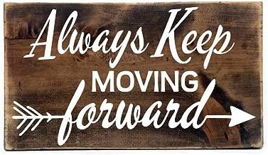 CAROLJU Motivational Gift For Friend Wood Wall Art Collage Rustic Sign Keep Moving Forward Motivational Quote Wood Sign Birthday Gift For Her
