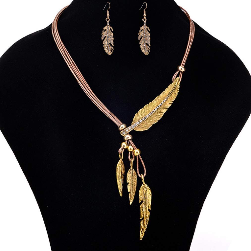 Wcysin Women Girls Antique Vintage Time Necklace Earring Set Sweater Chain Pendant Jewelry (Gold)