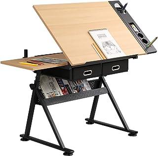 sogesfurniture Mesa de Dibujo Inclinable Ajustable, Mesa de Dibujo Artístico para Manualidades, Estación de Trabajo de Dis...