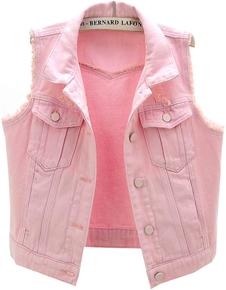 LifeShe Womens Button Up Denim Vest Jean Jacket Sleeveless Our Sales shop OFFers the best service Crop