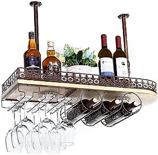 Rangement De Cuisine Organisation Suspendue Au Plafond Monté En Bois Massif Support De Vin En Verre De Vin De Luxe En Méta...