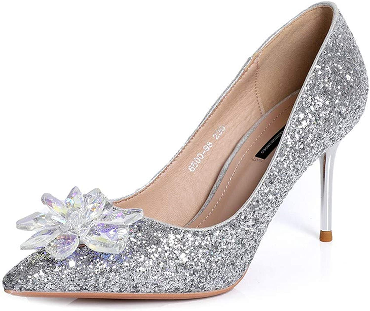 Top Shishang Silver Sequins, fine, Pointed Flowers, Sequins, Shallow Mouth Filled with Comfortable and Simple shoes