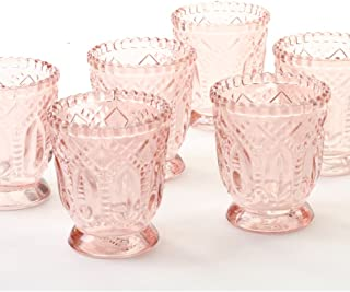 Koyal Wholesale Vintage Glass Candle Holder (Pack of 6), 3 x 2.75 (Blush Pink)