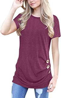 abac0319fd6c3b Photno Tops, Women's Casual Tunic Top Short Sleeve Blouse Loose Button  T-Shirt
