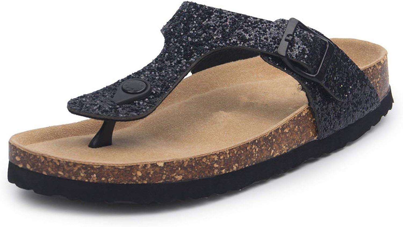 ALWAYS ME Beach Cork Flip Flops Slippers Casual Summer Women Sequins Print Slip On Slides shoes Plus Size