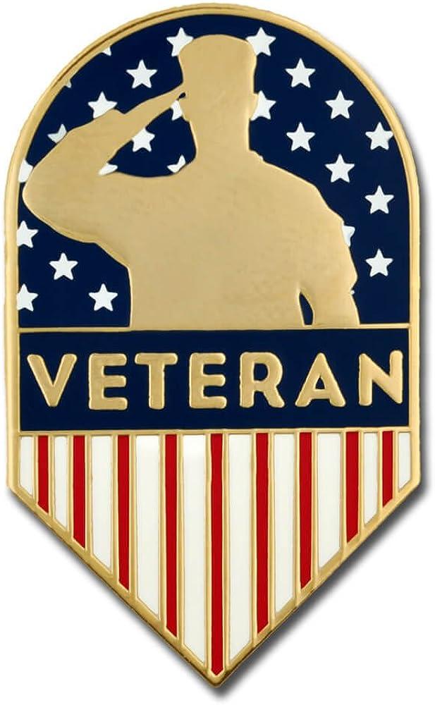 PinMart US Veteran American Flag Shield Military Enamel Lapel Pin