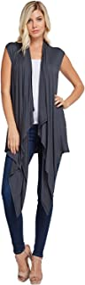 Annabelle Women's Draped Vest Knit Sleeveless Cardigan with Side Pockets