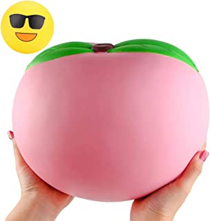 WATINC 10inch Jumbo Squishies, Large Peach Squishies, Birthday Gift for Kids, Giant Slow Rising Simulation Cute Fruit Squeeze Toy for Collection, Decorative Props, Stress Relief, Bonus Emoji squishies