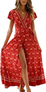 PRETTYGARDEN Women's Summer V Neck Wrap Vintage Floral Print Short Sleeve Split Belted Flowy Boho Beach Long Dress