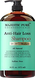 Hair Loss and Hair Regrowth Shampoo for Men & Women From Majestic Pure Offers Potent Natural Ingredient Based Product, Add Volume and Strengthen Hair, Sulfate Free, 14 DHT Blockers,16 fl oz by Majestic Pure
