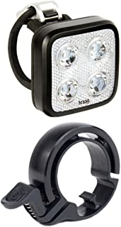 KNOG Blinder Mob Four Eyes Front Bike Light (USB Rechargeable) and Oi Bicycle Bell (Small) Kit