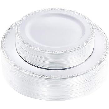 WDF 60 platos de plástico plateados desechables con borde plateado ...