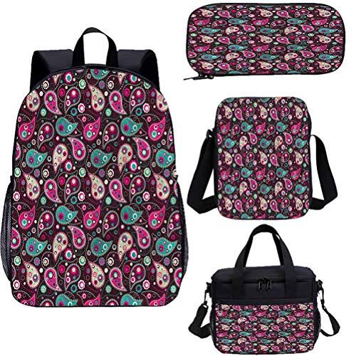 Paisley 15' Kids School Bookbags Set,Middle Shapes School Bags Set for Work,School,Travel,Picnic