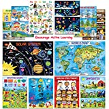 12 Creative Educational Posters for Kids & Toddlers -13x18 | Preschool Learning Posters for Homeschool Classroom Daycare & Kindergarten Teaching | ABC Alphabet Poster, Number Chart, Colors, Map & More