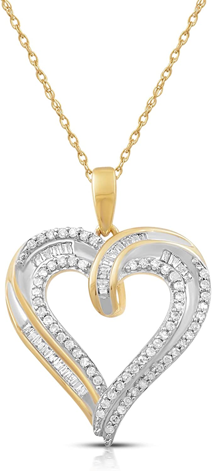 Jewelili 10K Yellow Gold 1/4 Cttw Natural White Round and Baguette Diamond Heart Shape Pendant Necklace, 18