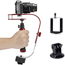 Pro Mini Handle Camera Video Stabilizer + Tripod Mount Adapter + Phone Clip for GoPro, Smartphone, Canon, Nikon - Any DSLR Camera up to 2.1 lbs with Smooth Pro Steady Glide Cam