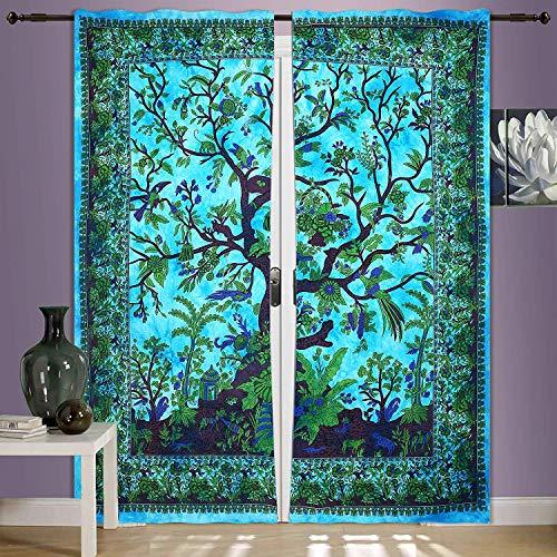 GDONLINE Indian Curtain Drapes Panel Sheer Tourquoise Tree of Life Mandala Bohemian 2 PC Curtain Set Window Treatment Door Hanging Home Decor