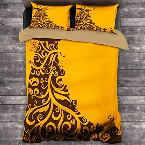 LanQiao Extra Large Duvet Cover - Halloween Background with Pumpkins and Ornaments Vector Illustration - 100% Polyester Bedding, 1 Quilt Cover and 2 Pillowcases, Zip Closure 104x89 inch