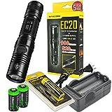 Nitecore EC20 960 Lumen CREE XM-L2 T6 LED Flashlight NL183 Rechargeable 18650 Battery, Charger and 2 X EdisonBright CR123A Lithium Batteries Bundle