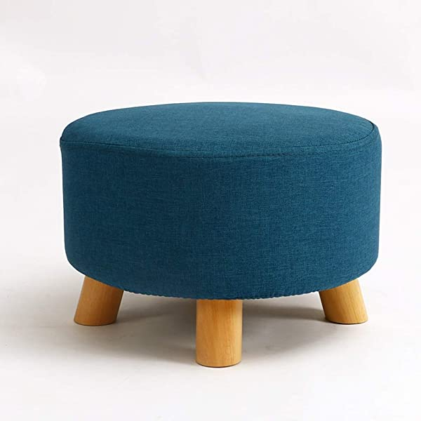 Linen Farbric Footstool Ottomans Bench Rest Step Stool Soft Detachable Upholstered Feet Protection Design Round Beech Short 4 Leg Stands Color Blue