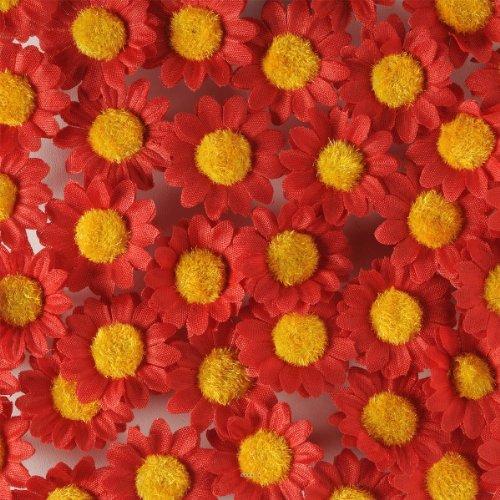 Artif-deco - Tetes de marguerite artificielles rouge x 36 en sachet d 3 cm - choisissezvotrecoloris: rouge cerise