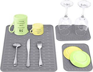 """Silicone Dish Drying Mat - Dishes Drainer Mats for Kitchen Counter-Set of 3 Counter top Mats with 12.2""""x15.5""""&6""""x 8.3"""" - H..."""