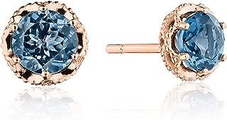 SE25333FP 14K Rose Gold Petite Crescent Crown London Blue Topaz Stud Earrings
