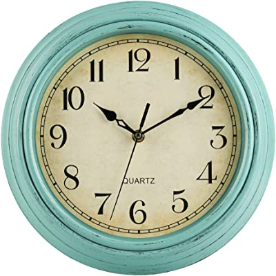 JoFomp Vintage Wall Clock, 12 Inch Silent Non-Ticking Quartz Battery Operated Wall Clocks, Retro Style Decorative Wall Clock for Home, Living Room, Kitchen, Bedroom, Office (Blue-Green)