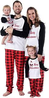 Family Christmas Pajamas, 2PCs Santa Prints Tops Plaids Bottoms Pjs Set