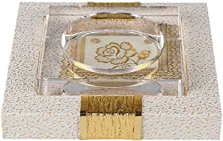 Ashtray, Large Glass Ashtray with Leather Hotel Lounge Glass Desk (Color: Brown),Colour:Brown (Color : White)