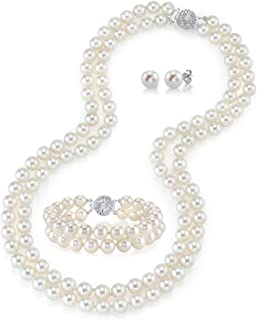 """THE PEARL SOURCE 14K Gold Round White Freshwater Cultured Pearl Double Strand Necklace, Bracelet & Earrings Set in 16"""" Choker Length for Women"""