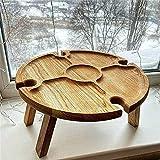 Valink 2021 nueva mesa de picnic plegable de madera al aire libre, mesa de picnic plegable, mesa de picnic portátil 2 en 1, mesa plegable creativa para exteriores, jardín, viajes