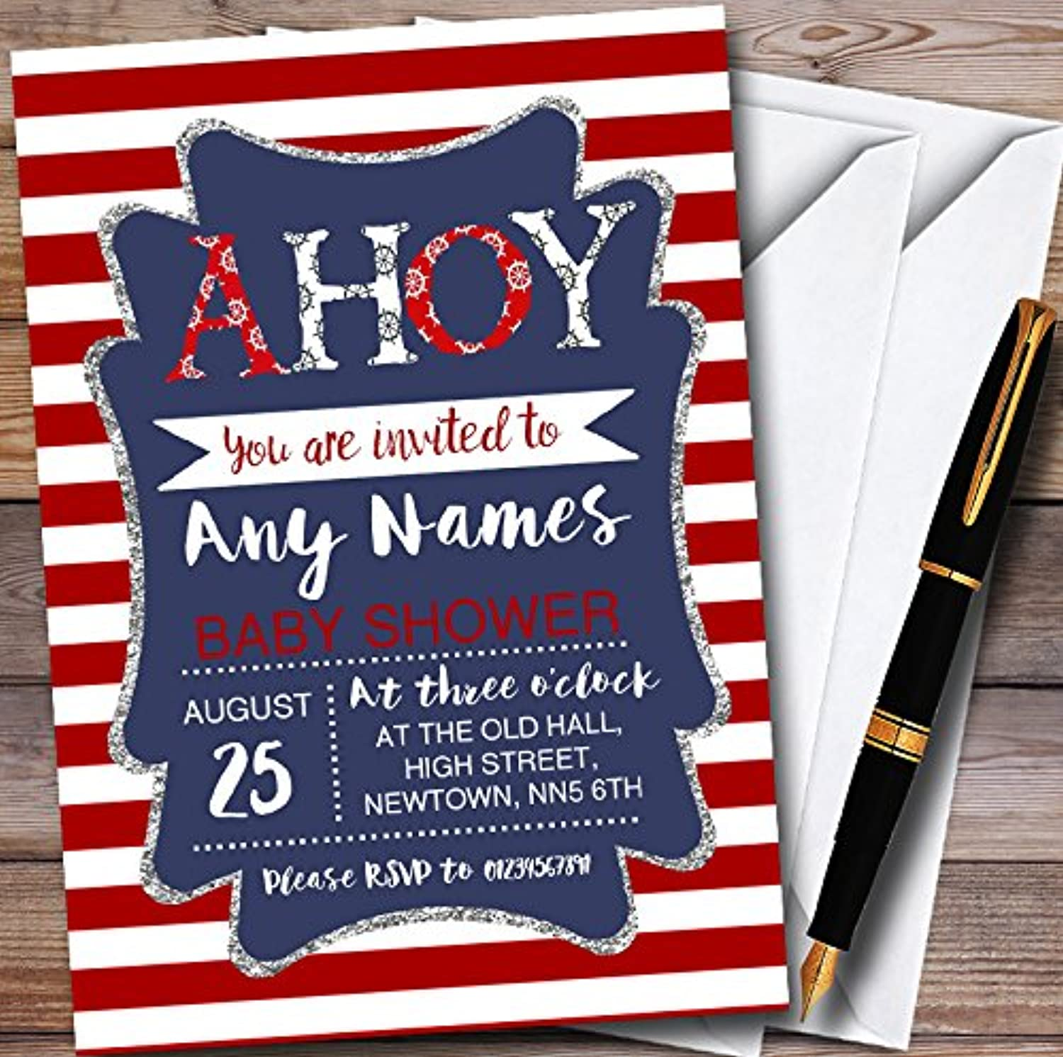 Red Stripe Ahoy Nautical Personalised Baby Shower Invitations