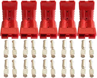 50 Amp Battery Connectors for Anderson Red 50A 600V Plug 5 Pairs 10 pcs,Broad Cable Terminal Battery Power Connector (6awg)