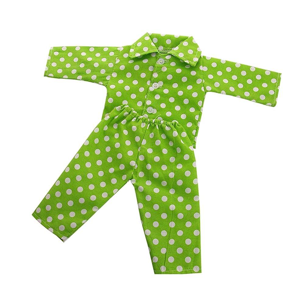 繁雑吹雪ハウジング2カラー 人形用服 18インチアメリカガールドール人形対応 ポルカドット パジャマスーツ トップス ズボン アクセサリー - 緑