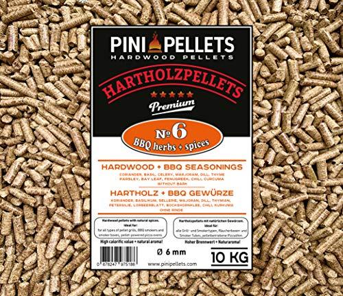 PINI Pellets de Madera Dura № 6 BBQ Hierbas y Especias 10 Kg Gránulos de Parrilla para Asar, Fumar, también para hornos de Pizza operados con pellets