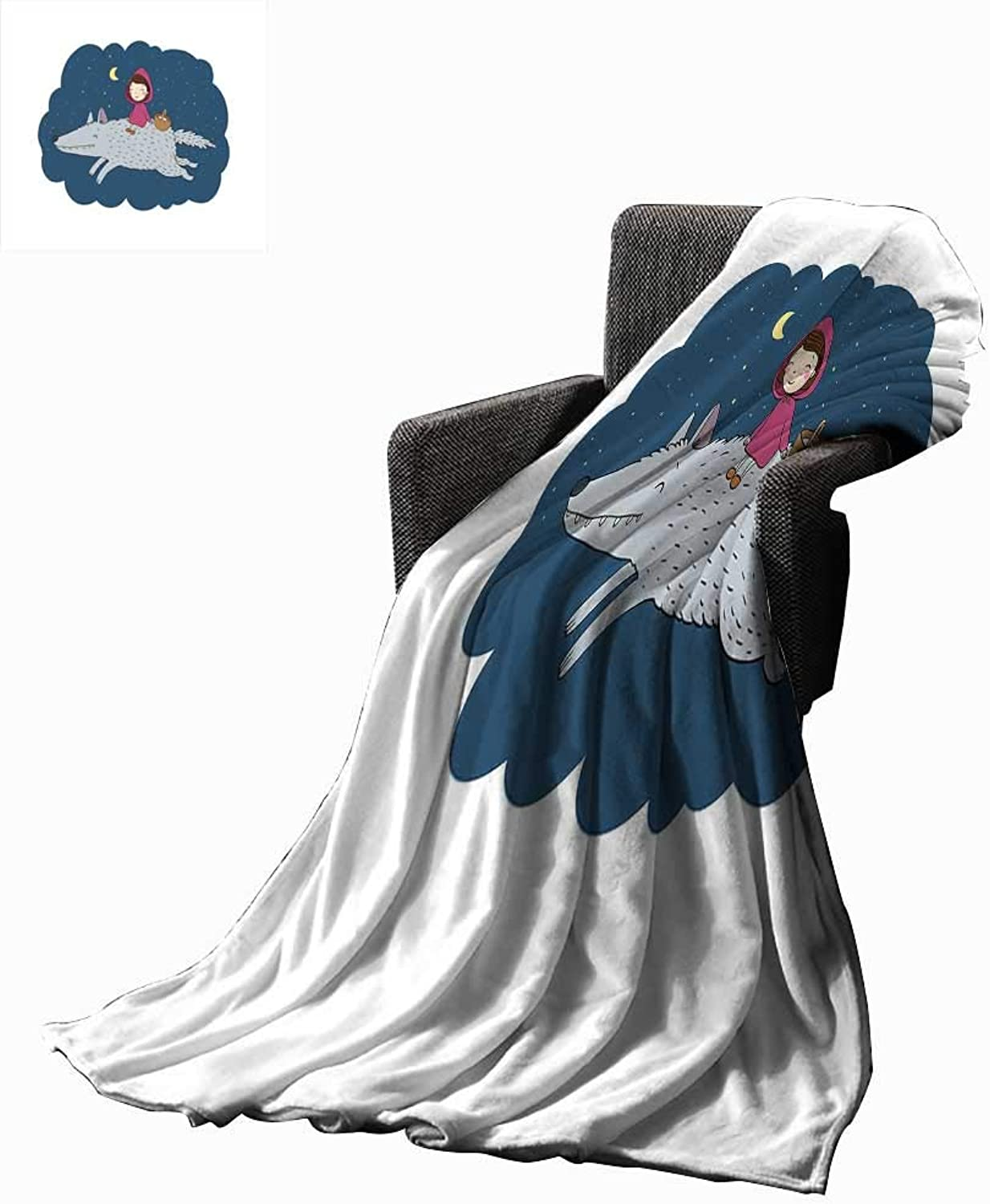 RenteriaDecor Kids Weave Pattern Extra Long Blanket Cartoon Kid in a Pink Hood and Basket on a Giant Wolf Running in The Starry Night 60 x50 ,Super Soft and Comfortable,Suitable for Sofas,Chairs,beds