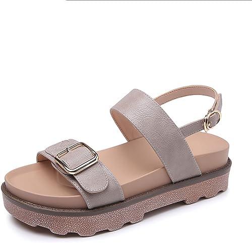 HY Frau Casual Student Sandalen Sommer 5cm Open Toe Wort Schnalle High Heels (Farbe   Grau, Größe   34)