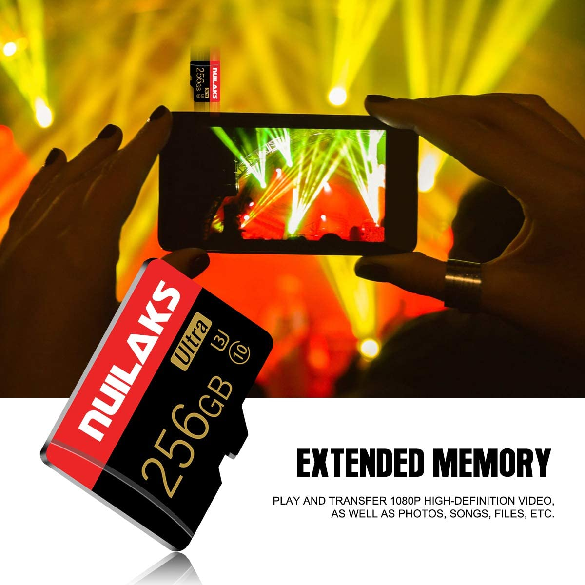 256GB Micro SD Card with Adapter SD Memory Cards for Camera (Class 10 High Speed), Memory Card for Phone Computer Game Console, Dash Cam, Camcorder, GPS, Surveillance, Drone(256GB)