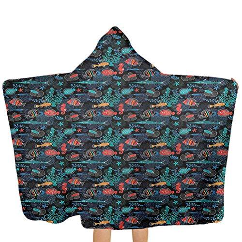 Hooded Beach Towel Underwater Baby Bath Towels with Hood Aquarium Animal Design Use for Bath/Pool/Beach Swim Cover ups 51x32 Inch