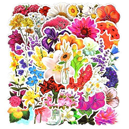 FENGLING Pegatinas de dibujos animados de flores hermosa planta creativa kawaii graffiti impermeable pegatina para portátil nevera maleta guitarra 50 piezas