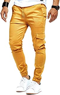Howely Men's Jogger Pants Pockets Cargo Gym Trousers Casual Sweatpants