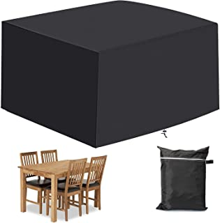 Mayhour Outdoor Patio Table Chair Cover Black Square 210D Oxford Cloth 47in Furniture Covers, UV Resistant,Durable Waterpr...