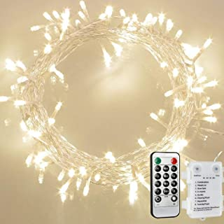 [Remote and Timer] 36ft 100 LED Outdoor Battery Fairy Lights, String Lights for Bedroom, Garden, Easter, Christmas Decoration (8 Modes, Dimmable, IP65 Waterproof, Warm White) (Remote and Timer)