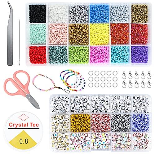 INSANYJ Cuentas de Cristal, Bolitas Abalorios para Hacer Pulseras, Cuentas de Colores para Pulseras, DIY Abalorios para Hacer Collares para Pulseras Fabricación de Joyas Bricolaje(2 Caja)