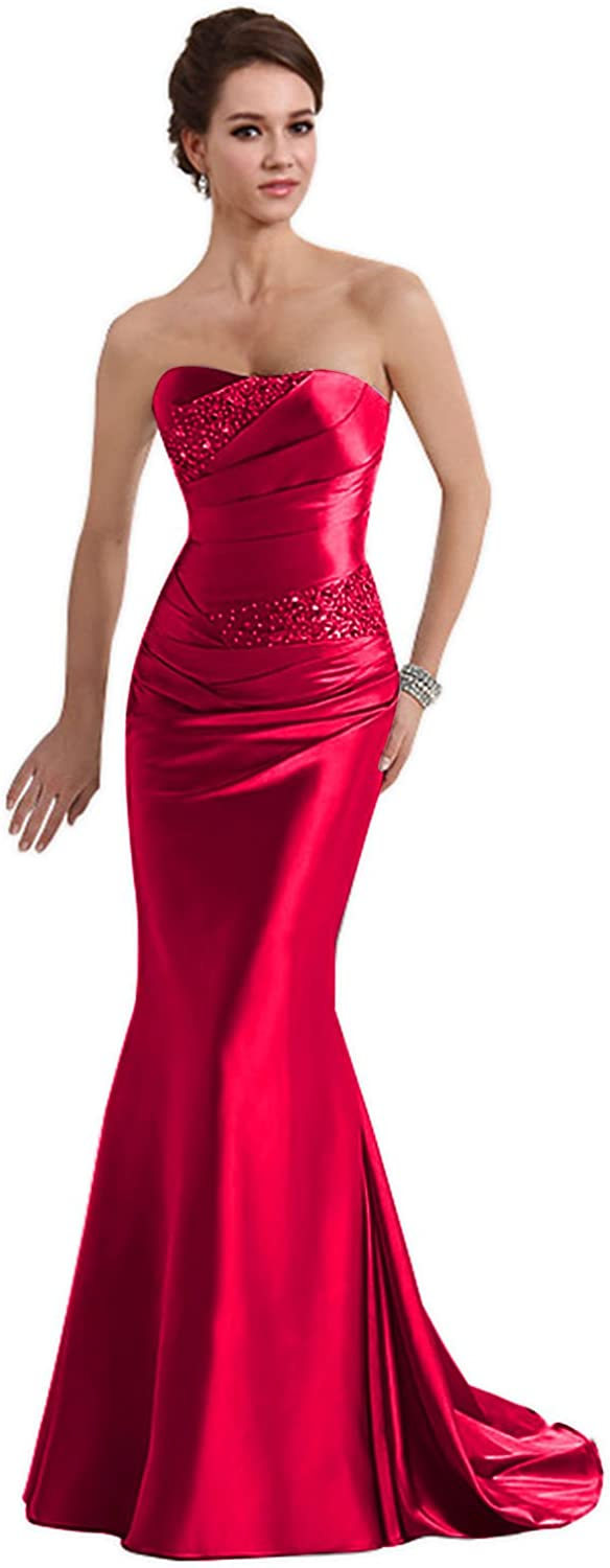 Generic Long Prom Dresses Mermaid Strapless Evening Gowns