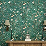Vliestapete Retro Blumen Und Vögel Muster Tapete Apfelbaum Korridor Studie Schlafzimmer Wohnzimmer Hintergrund Garten Wallpaper,D